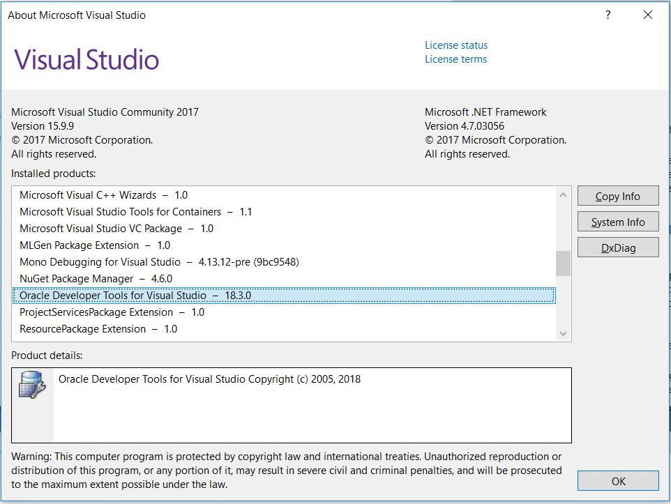 Visual Studio About Page