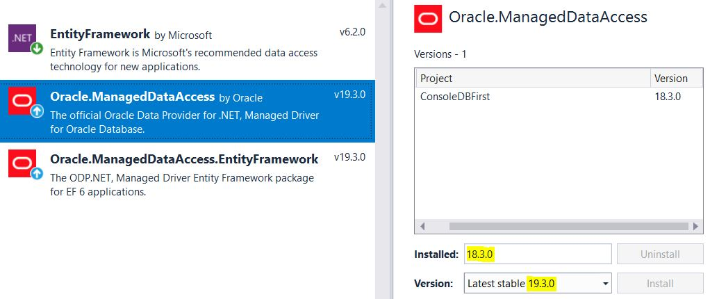 NuGet Oracle and Entity Framework packages